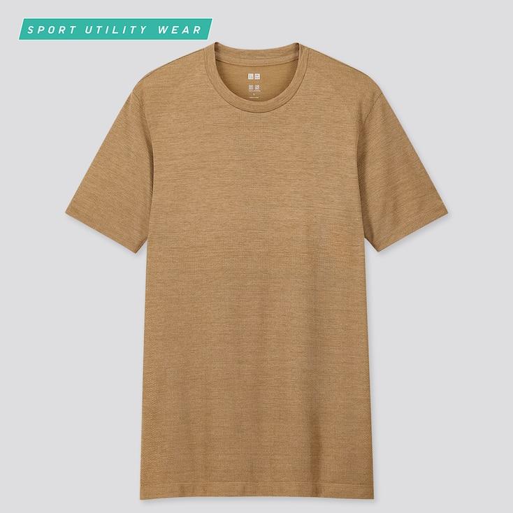 Men Dry-Ex Crew Neck Short-Sleeve T-Shirt, Brown, Large