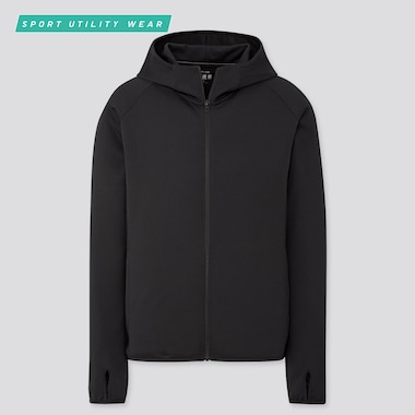 Men Dry-Ex Uv Cut Full-Zip Hoodie, Black, Medium