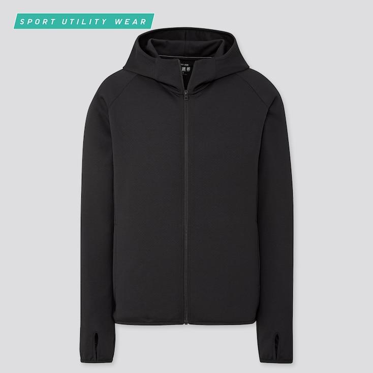 Men Dry-Ex Uv Protection Full-Zip Hoodie, Black, Large