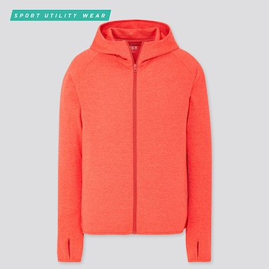 Men Dry-Ex Uv Cut Full-Zip Hoodie, Red, Medium
