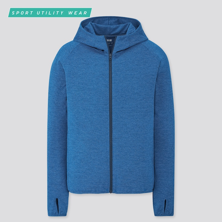 Men Dry-Ex Uv Protection Full-Zip Hoodie, Blue, Large