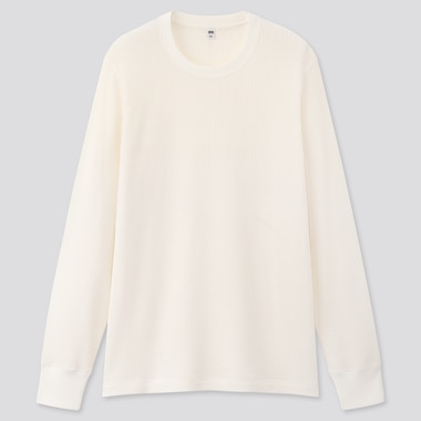 Men Waffle Crew Neck Long-Sleeve T-Shirt, Off White, Medium