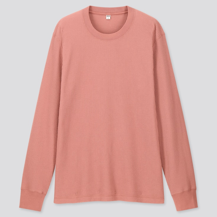 Men Waffle Crew Neck Long-Sleeve T-Shirt, Pink, Large