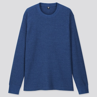 Men Waffle Crew Neck Long-Sleeve T-Shirt, Blue, Medium