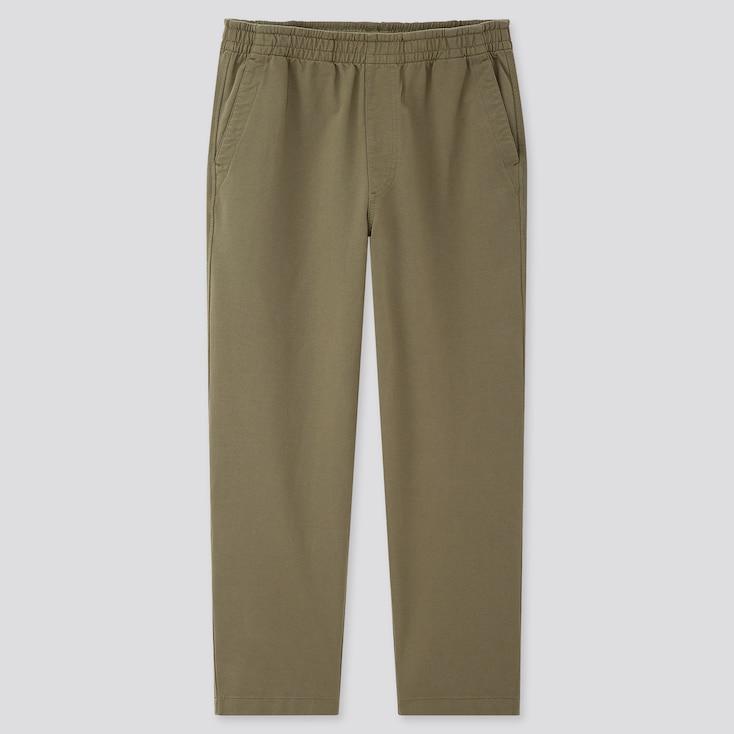 Men Washed Jersey Ankle-Length Pants, Olive, Large