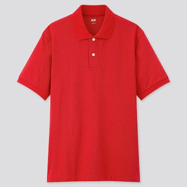 Men Dry Pique Short-Sleeve Polo Shirt, Red, Medium