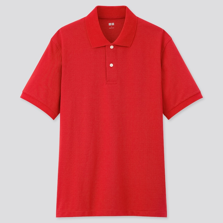 Men Dry Pique Short-Sleeve Polo Shirt, Red, Large