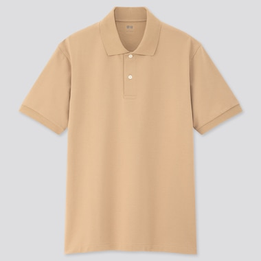 Men Dry Pique Short-Sleeve Polo Shirt, Beige, Medium