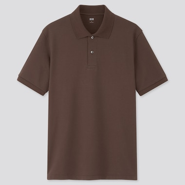 Men Dry Pique Short-Sleeve Polo Shirt, Dark Brown, Medium