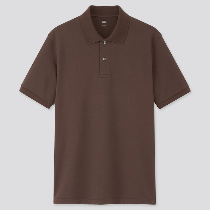Men Dry Pique Short-Sleeve Polo Shirt, Dark Brown, Large