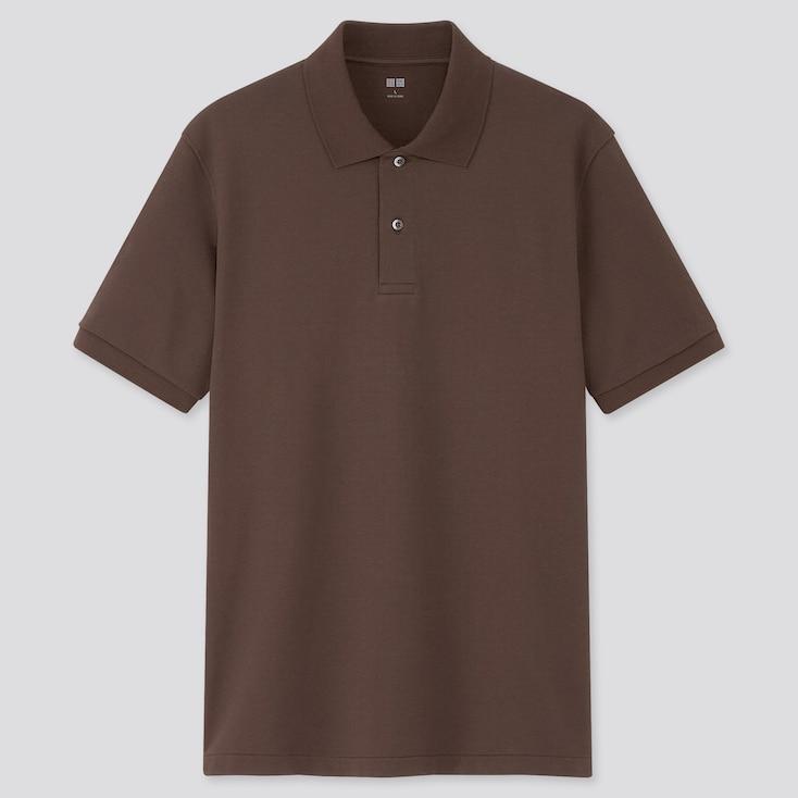 Dry Pique Short-Sleeve Polo Shirt, Dark Brown, Large