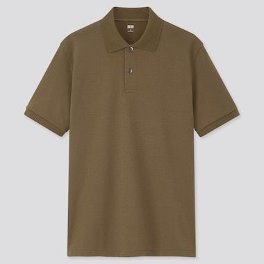 Men Dry Pique Short-Sleeve Polo Shirt, Olive, Medium