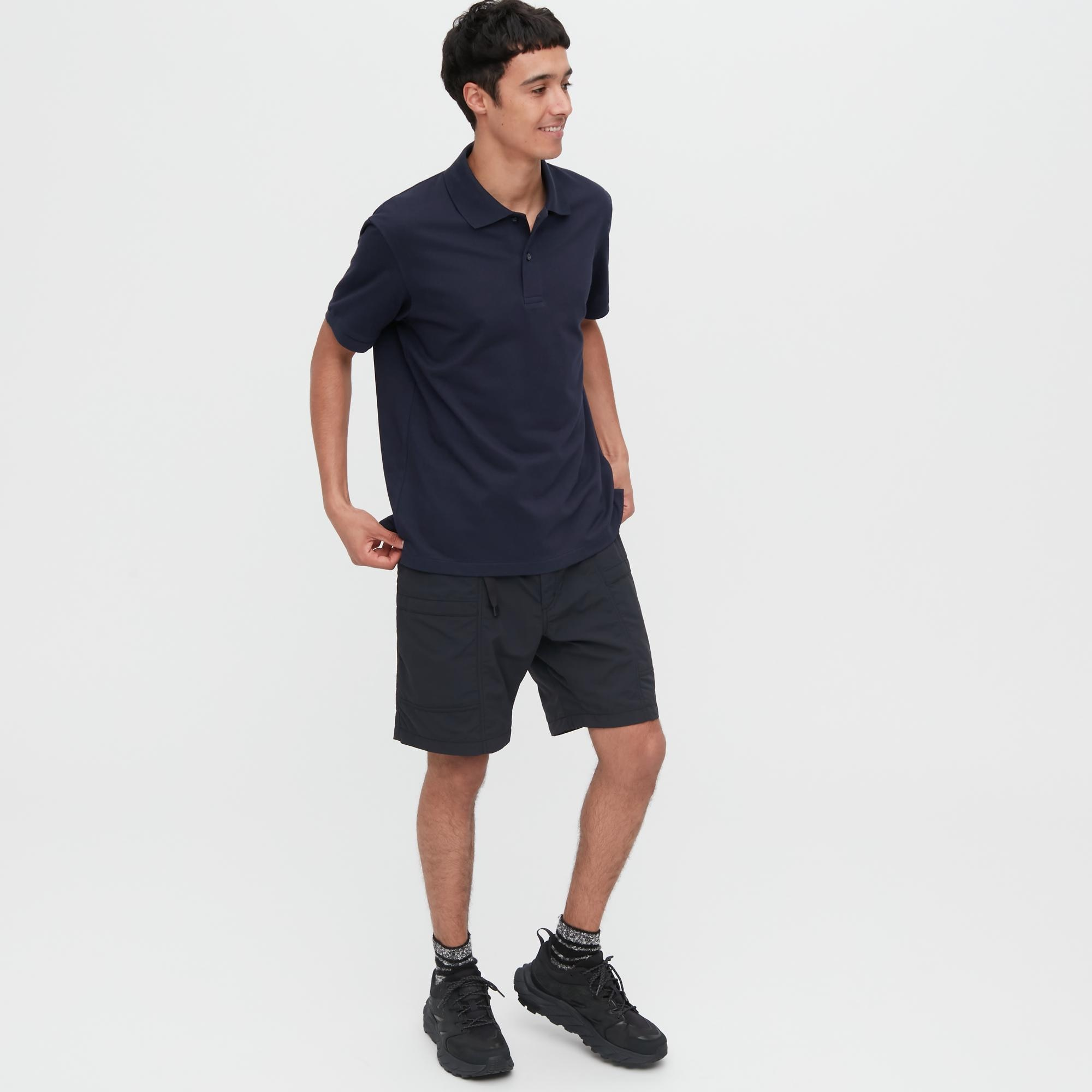 MEN DRY PIQUE SHORT-SLEEVE POLO SHIRT (BLACK)