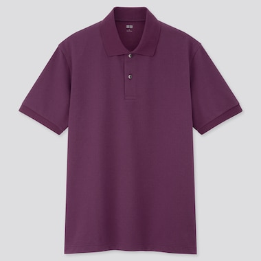 Men Dry Pique Short-Sleeve Polo Shirt, Purple, Medium