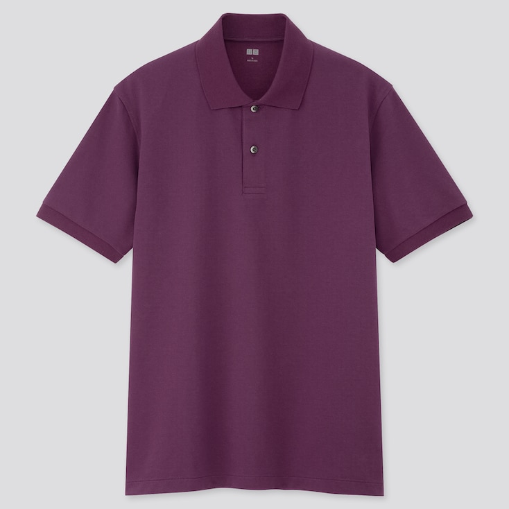 Men Dry Pique Short-Sleeve Polo Shirt, Purple, Large