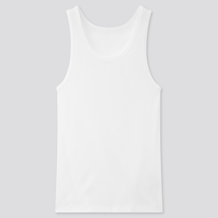 Men Dry Color Ribbed Tank Top, White, Large
