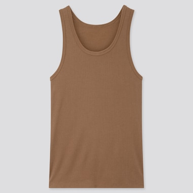Men Dry Color Ribbed Tank Top, Brown, Medium