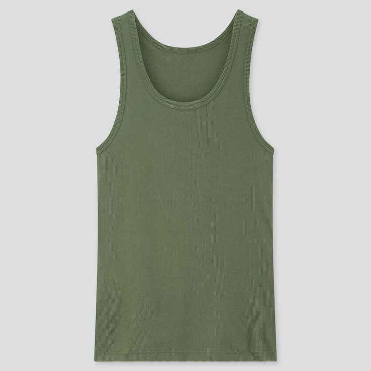 Men Dry Color Ribbed Tank Top, Green, Large