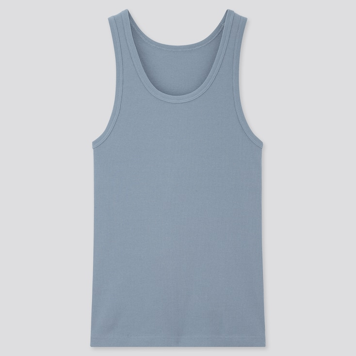 Men Dry Color Ribbed Tank Top, Blue, Large