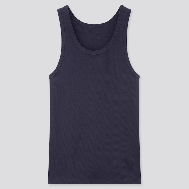 Men Dry Color Ribbed Tank Top, Navy, Large