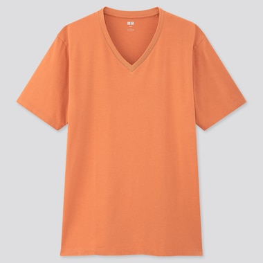 Men Supima© Cotton V-Neck Short-Sleeve T-Shirt, Light Orange, Medium