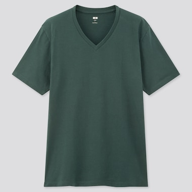 Men Supima© Cotton V-Neck Short-Sleeve T-Shirt, Dark Green, Medium