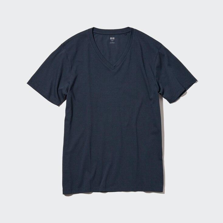 Men Supima© Cotton V-Neck Short-Sleeve T-Shirt, Navy, Large