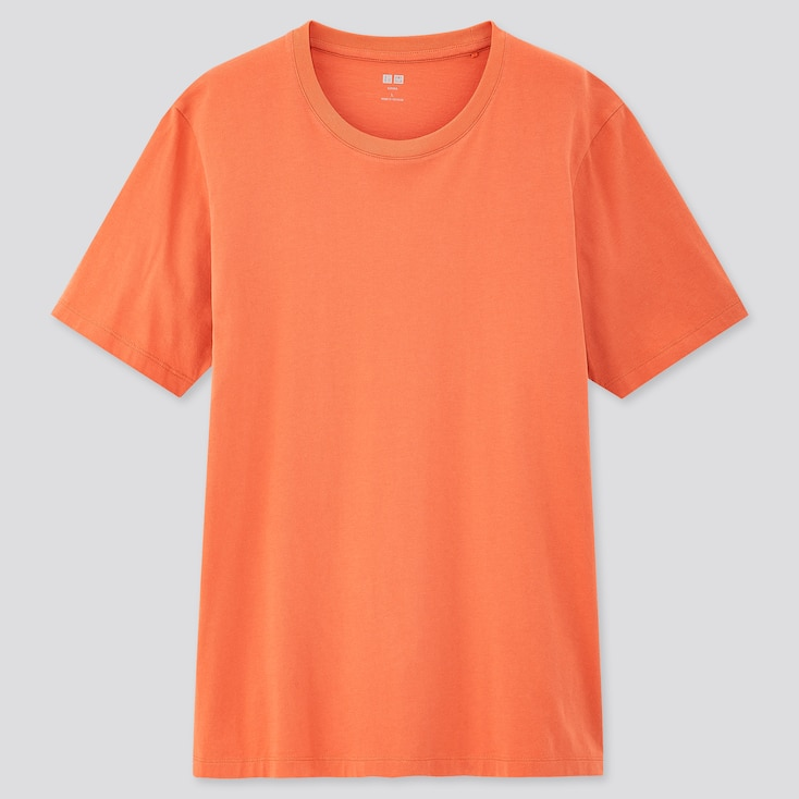Men Supima© Cotton Crew Neck Short-Sleeve T-Shirt, Orange, Large