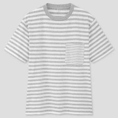 Men Striped Short-Sleeve T-Shirt, Gray, Medium