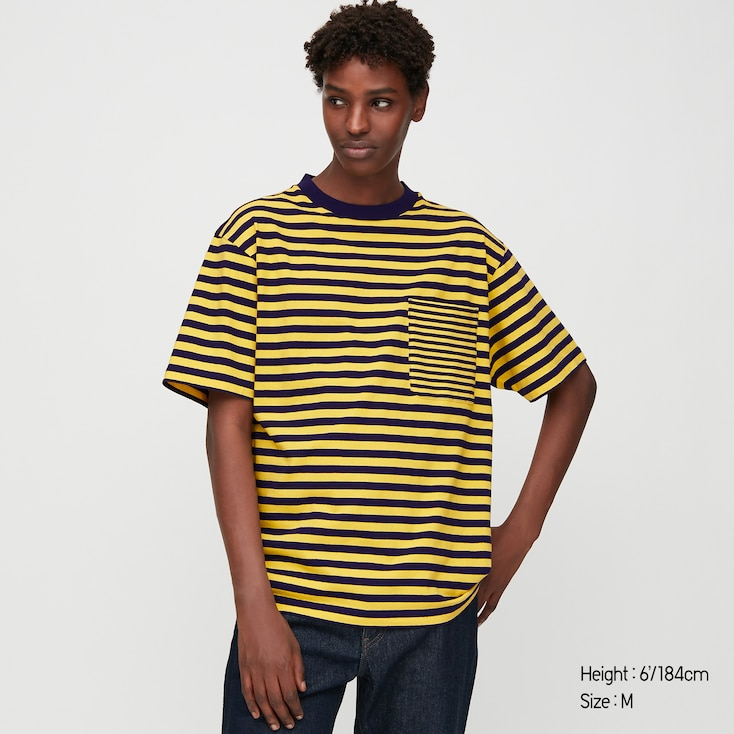 Men Striped Short-Sleeve T-Shirt, Yellow, Large