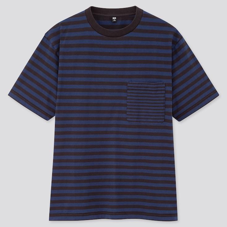 Men Striped Short-Sleeve T-Shirt, Navy, Large
