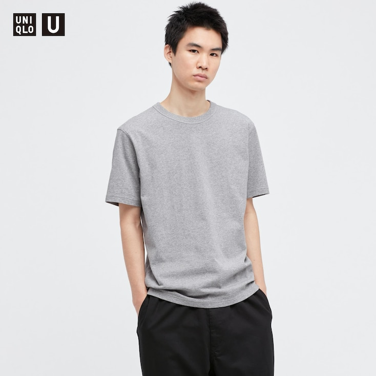 U Crew Neck Short-Sleeve T-Shirt, Light Gray, Large