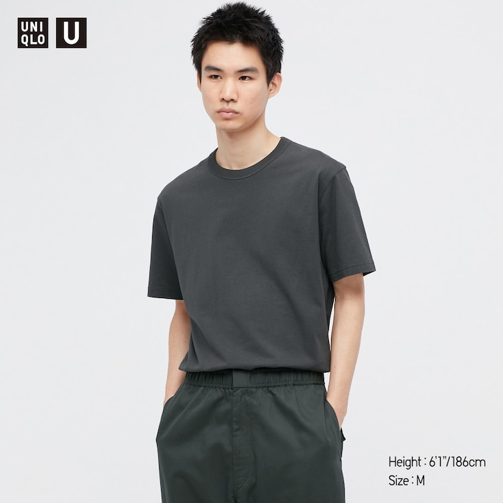 U Crew Neck Short-Sleeve T-Shirt, Dark Gray, Large