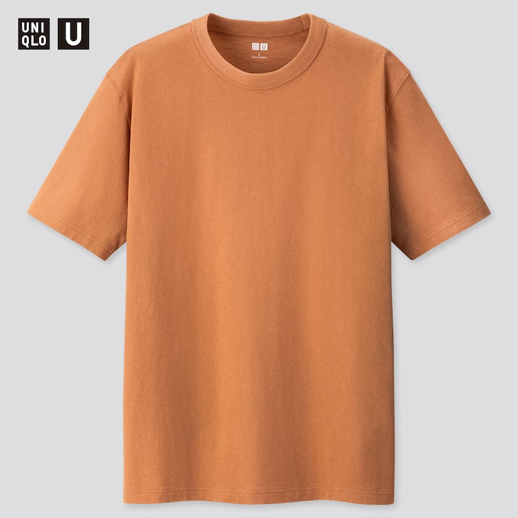 U Crew Neck Short-Sleeve T-Shirt, Orange, Large