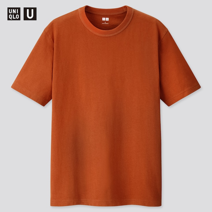 Men U Crew Neck Short-Sleeve T-Shirt, Dark Orange, Large