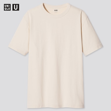 U Crew Neck Short-Sleeve T-Shirt, Natural, Medium