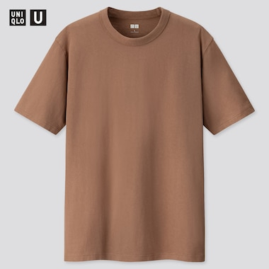 U Crew Neck Short-Sleeve T-Shirt, Brown, Medium