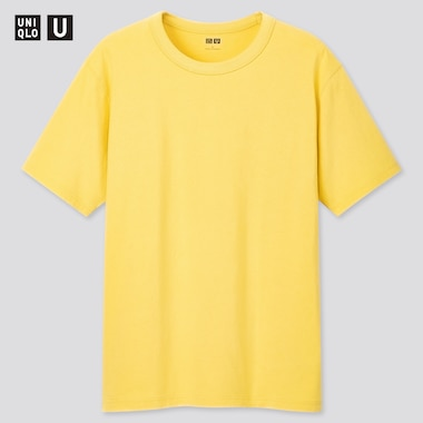 U Crew Neck Short-Sleeve T-Shirt, Yellow, Medium