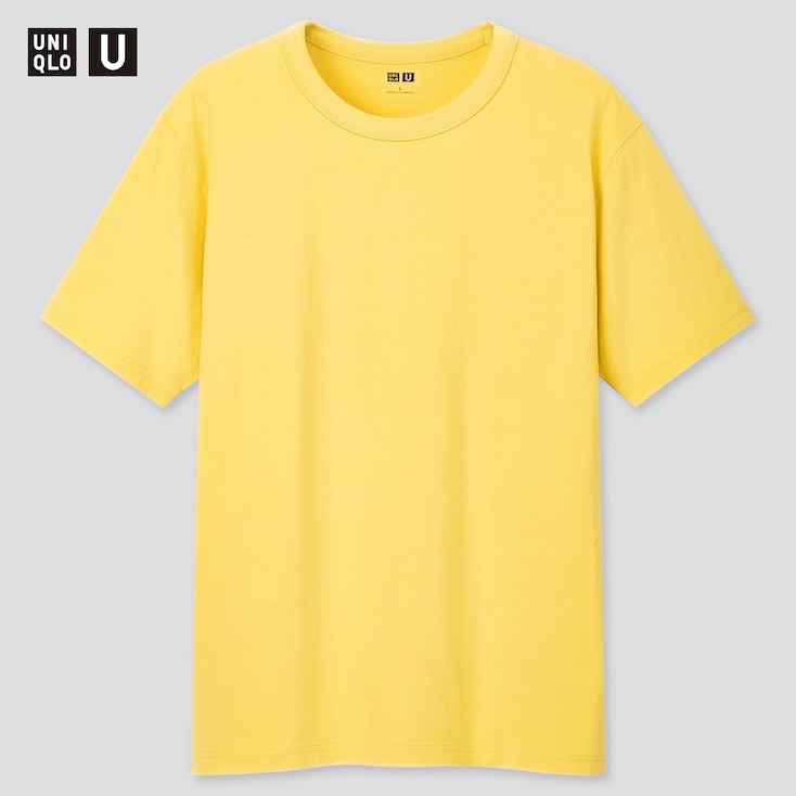 U Crew Neck Short-Sleeve T-Shirt, Yellow, Large