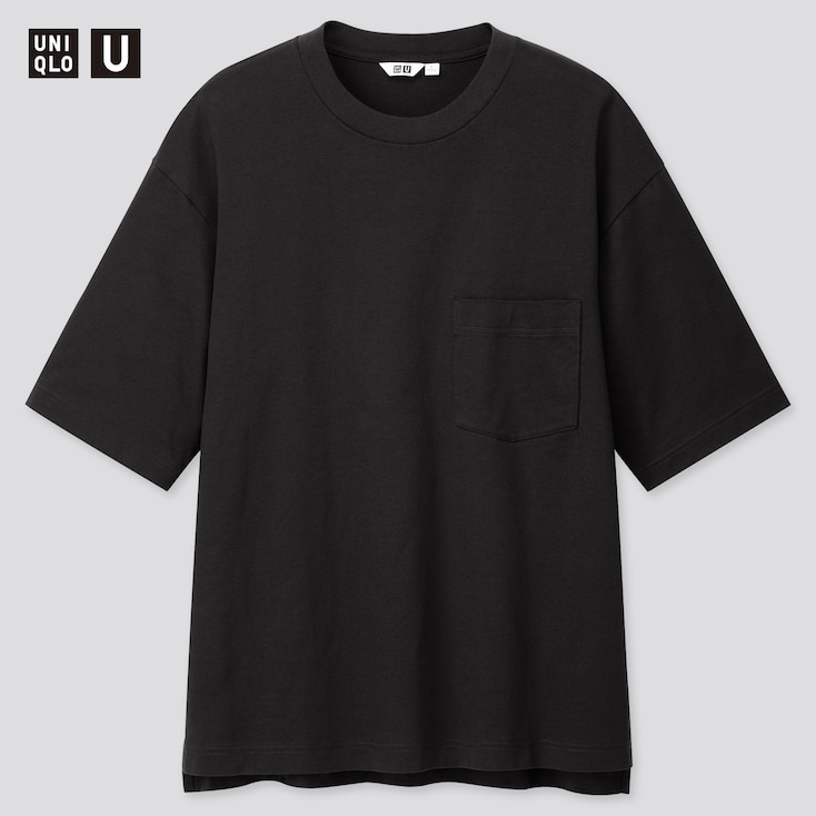 U Oversized Crew Neck Short-Sleeve T-Shirt, Black, Large