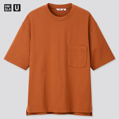 Men U Oversized Crew Neck Short-Sleeve T-Shirt, Dark Orange, Medium