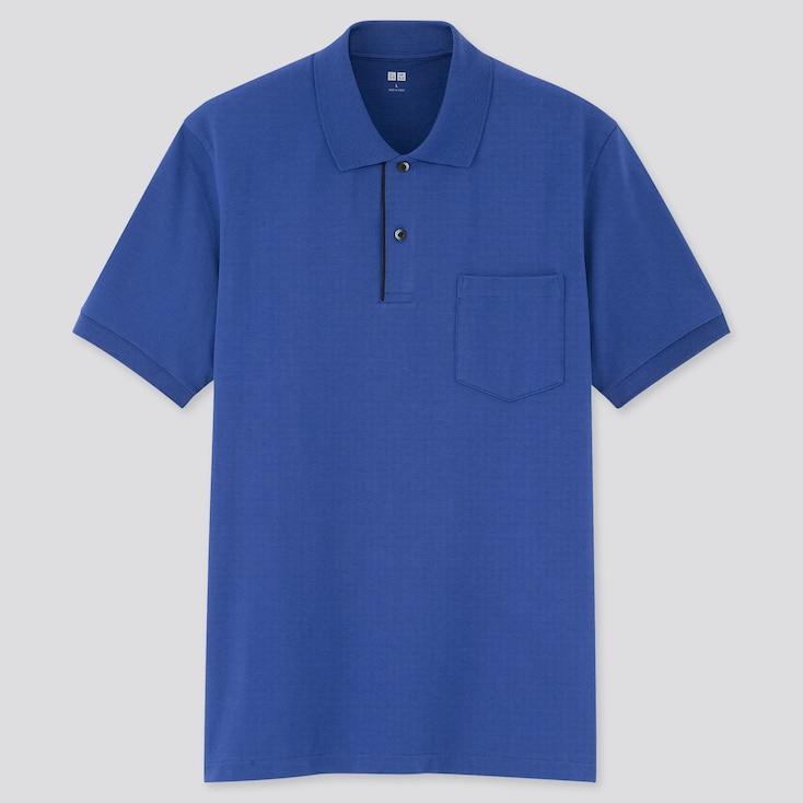 Men Dry Pique Designed Pocket Polo Shirt, Blue, Large