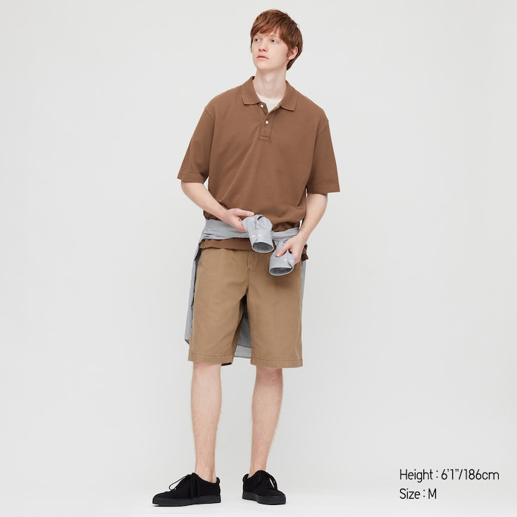 Men Cotton Pique Oversized Polo Shirt (Online Exclusive), Brown, Large