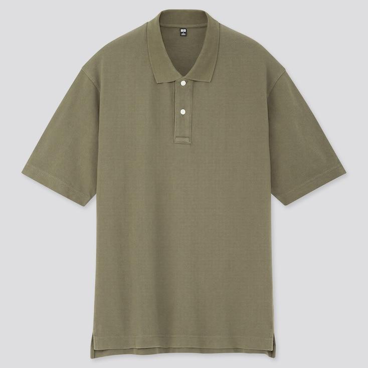 Men Cotton Pique Oversized Polo Shirt (Online Exclusive), Olive, Large