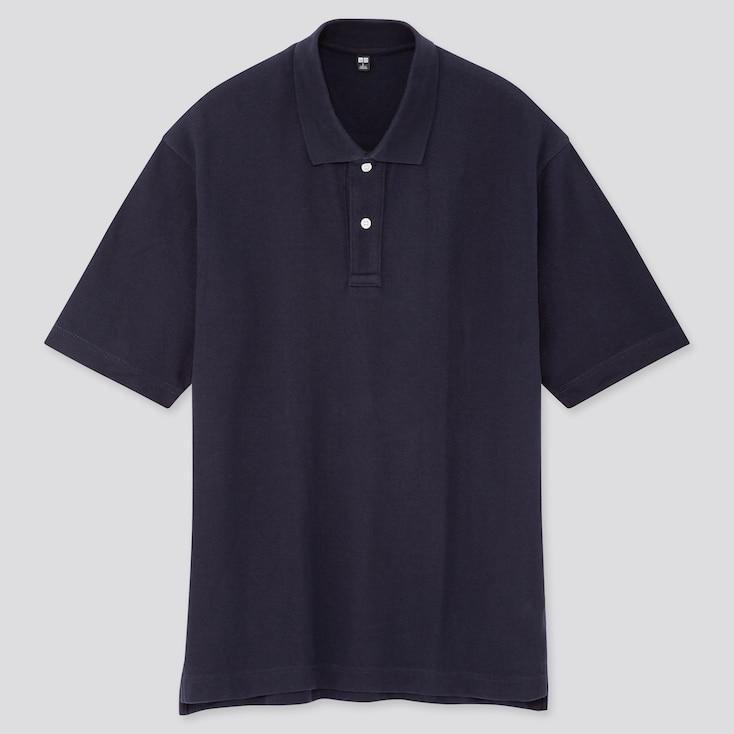 Men Cotton Pique Oversized Polo Shirt, Navy, Large