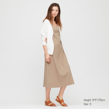 Women Wide-Ribbed Sleeveless Long Bra Dress, Natural, Medium