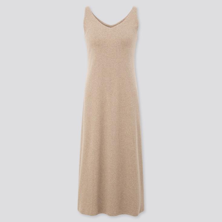 Women Wide-Ribbed Sleeveless Long Bra Dress, Natural, Large