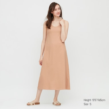 Women Wide-Ribbed Sleeveless Long Bra Dress, Beige, Medium