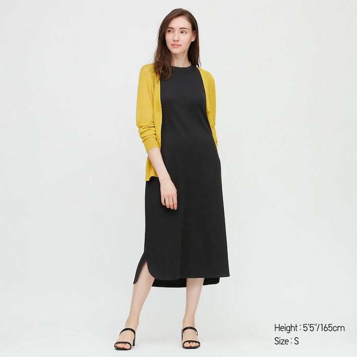 Damen Langes Bh Kleid In Waffeloptik Uniqlo