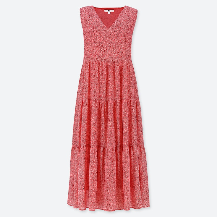 WOMEN PRINTED TIERED SLEEVELESS LONG DRESS (ONLINE EXCLUSIVE), RED, large